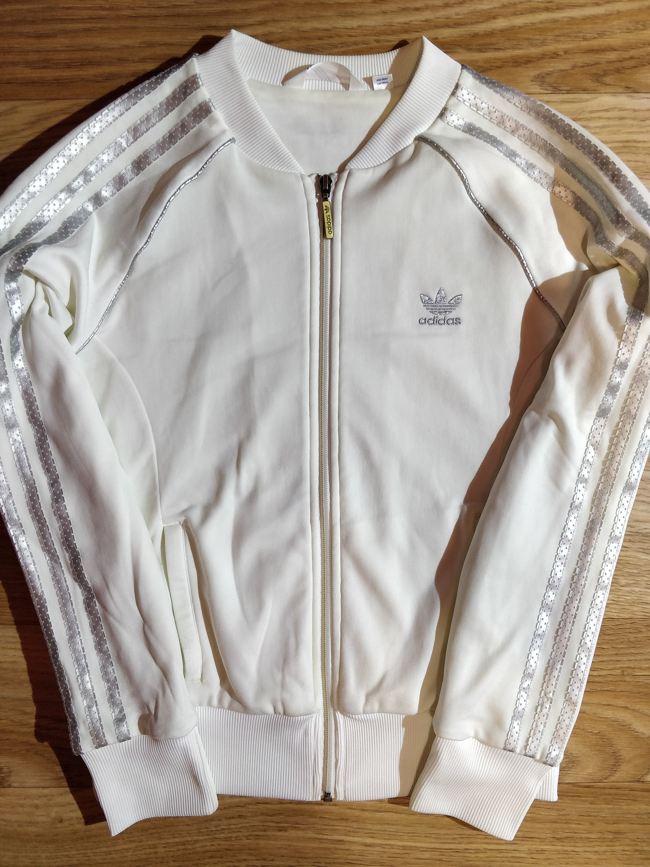 Details about ADIDAS Womens Medium White Silver Jumper Ladies Track Jacket Full Zip Sweatshirt