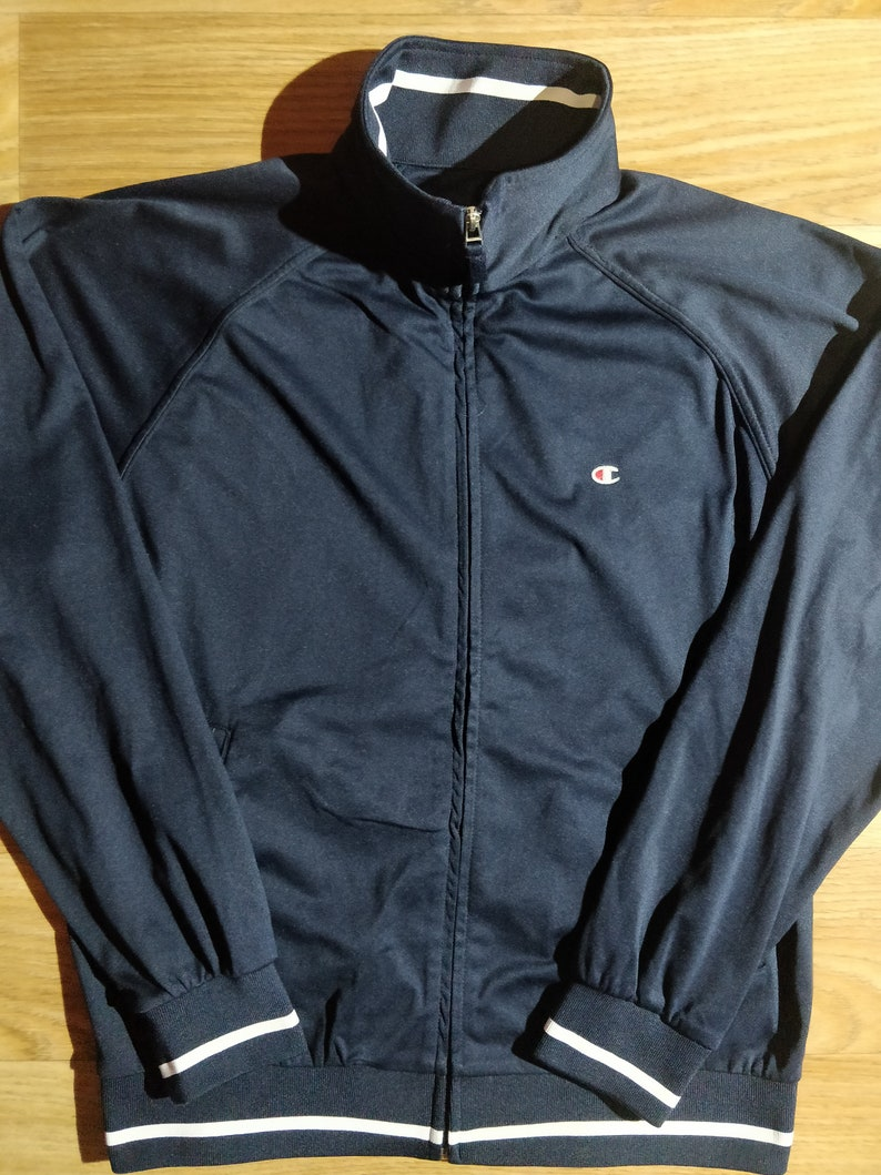 f5c8a2aa042f5 Champion 90 s Vintage Mens Tracksuit Top Jacket Navy Blue