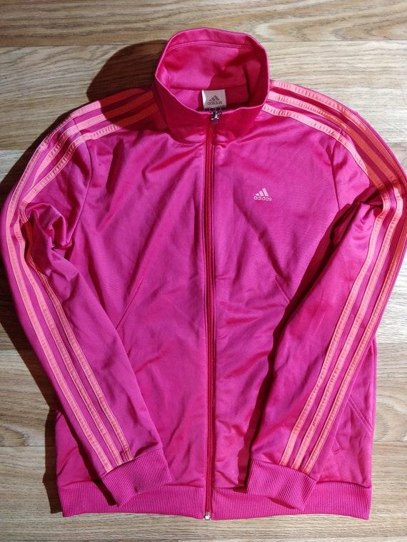 Adidas Vintage Womens Tracksuit Top Jacket Pink Orange Stripes