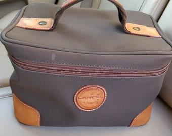 Lancel Depuis 1876 France Vintage Travel Cosmetic Bag PVC Canvas Leather Box