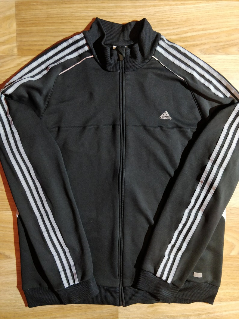 timeless design 6fd02 4b616 Adidas Mens Sweatshirt Tracksuit Top Jacket Climacool Black Gray Stripes