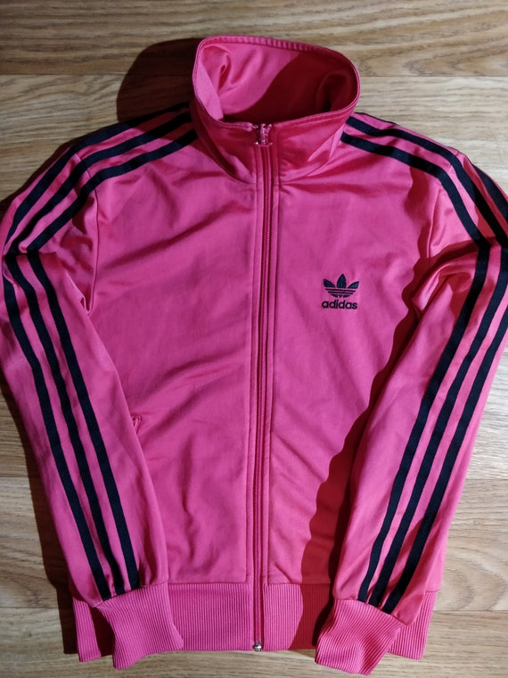 Details about adidas Sample Trefoil Three Stripes Women Violet Red White Hoodie Track Jacket M