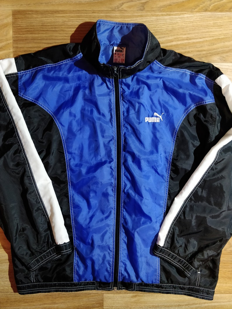 7ca558bbdb792 Puma 90's Vintage Mens Nylon Tracksuit Top Jacket Black Blue Lightweight