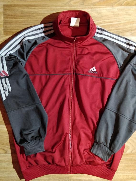 Adidas 3 Streifen Vintage Herren Anzug Jacke Jacke Kirsche rot grau