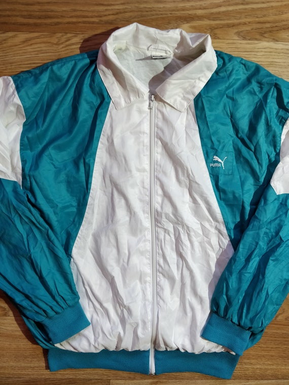 f97a094f8da37 Puma 90's Vintage Mens Tracksuit Top Jacket Turquoise White Lightweight