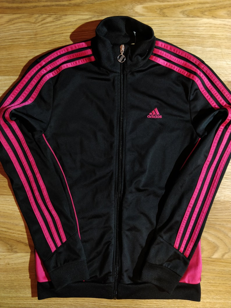 Adidas Vintage Womens Tracksuit Top Jacket Black Pink