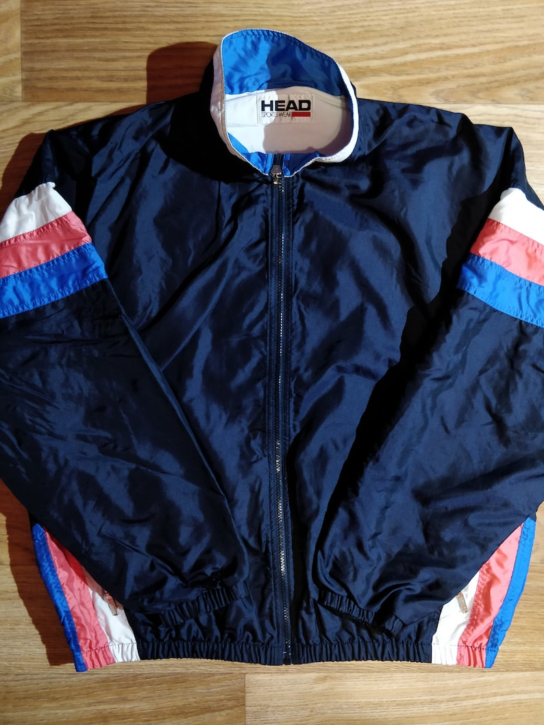 733a8b85 HEAD Vintage Mens Nylon Tracksuit Top Jacket Training GYM Tennis Windbreaker