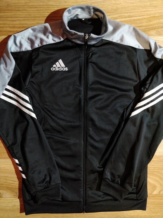 Adidas Vintage Mens Tracksuit Top Jacket Black Gray