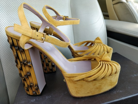 Gucci Yellow Suede Leather Strappy Bamboo Heels Sa
