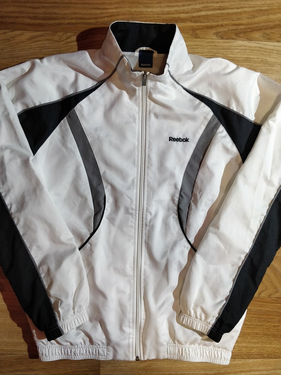 Reebok Vintage Mens Tracksuit Top Jacket White Bla