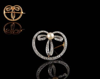 Vintage French 18ct Gold & Platinum Diamond and Pearl Art Deco Bow Brooch