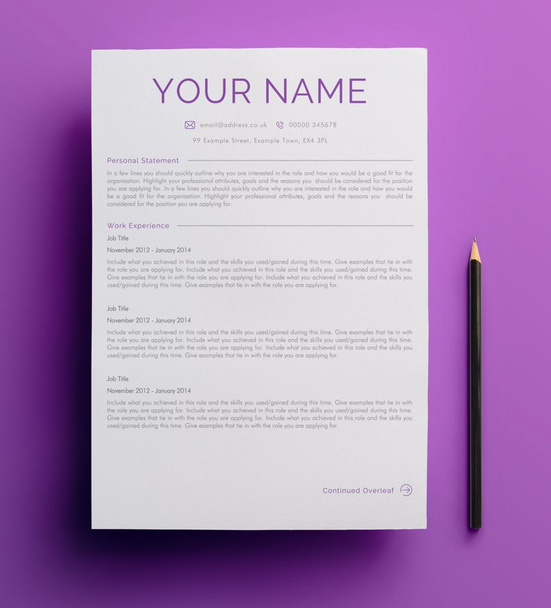 United Kingdom Curriculum Vitae Cv Example: Two Page Curriculum Vitae Design Template United Kingdom