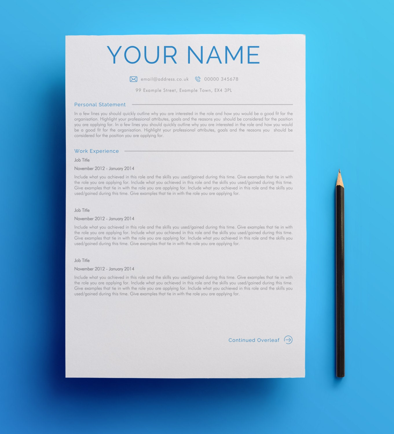 two page curriculum vitae design template united kingdom