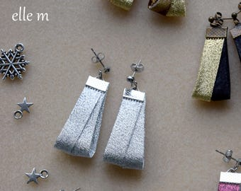 Silver lurex fabric, Christmas earrings