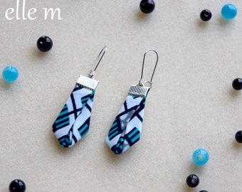 Fabric earrings African turquoise wax