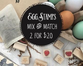 Mini Egg Stamp - SALE - Mix & Match - Farm Fresh Eggs Stamp -  Chicken Egg Stamp - Chicken Lover- FarmhouseMaven - Farmhouse Maven Market