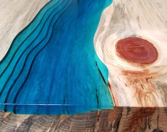Sold Stream Coffee Table Live Edge Coffee Table Epoxy Etsy