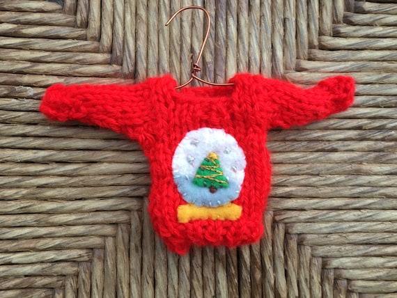 Tiny Christmas.Custom Snow Globe Ornament Tiny Christmas Sweater Ornament W Snowglobe Applique Xmas Tree Hand Knit Ornaments Unique Christmas Decor