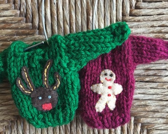 Tiny Christmas Sweater Ornaments, set of 2, Reindeer Ornament, Gingerbread man ornamemt, tacky sweater party favor, kitsch Christmas