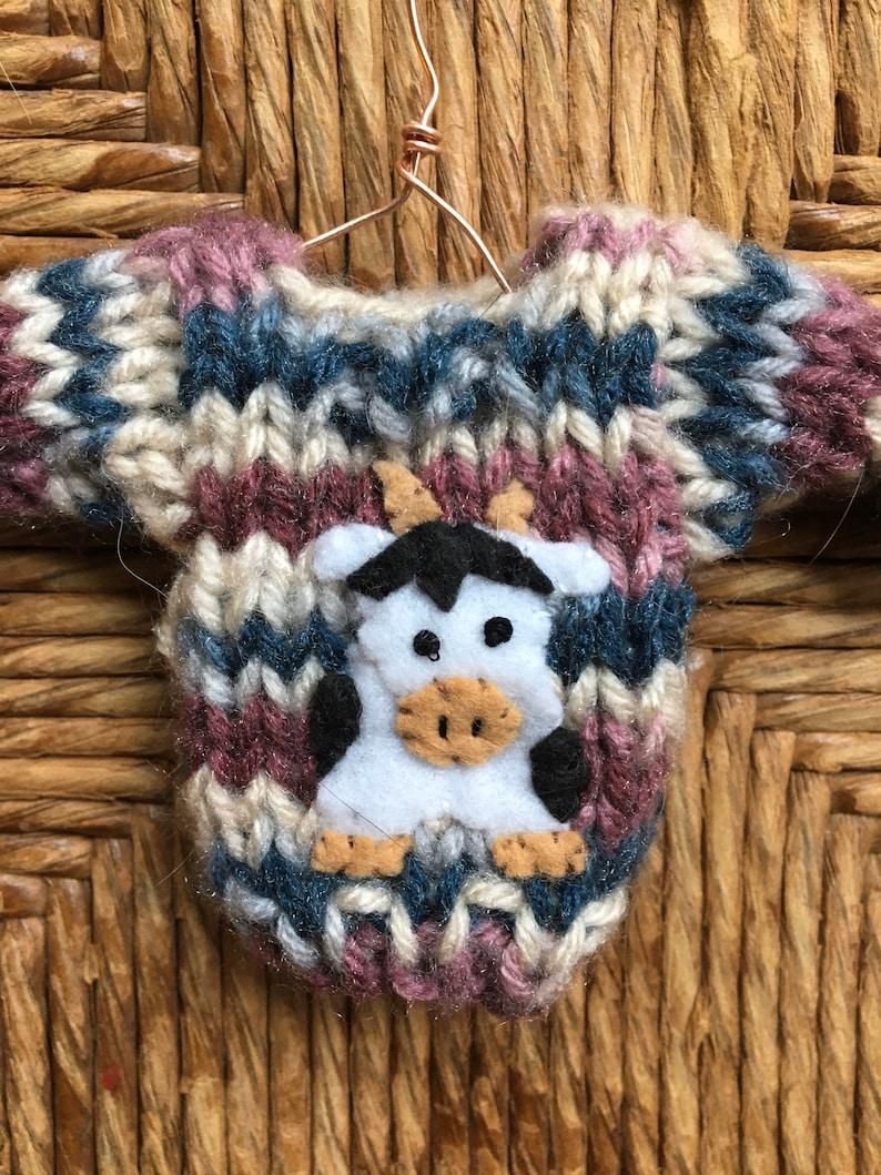 Cow Ornament Farm Animal Cow Lover Country Christmas Farm Ornament Miniature Sweater Ornament w Cow Applique Farmer Gift Farm Theme