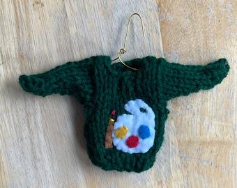 Art Ornament, Mini Sweater Ornaments w Artists Palette, Art Teacher Gift, Artist Gift, Gifts for Artists, Knit Christmas Ornament, Artsy