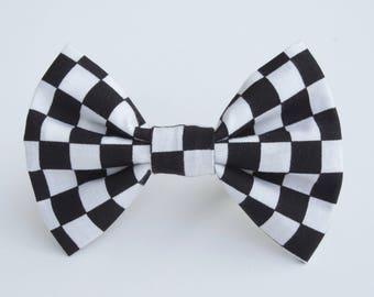 Checker Black White Bow Tie Checkers Bowtie Adjustable Strap Wedding Rockabilly