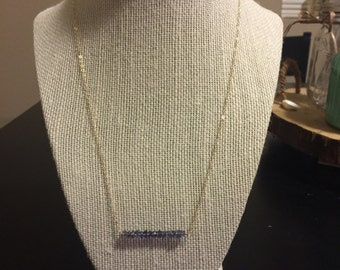 Iolite bar necklace/gemstone and gold bar necklace/gemstone bar necklace