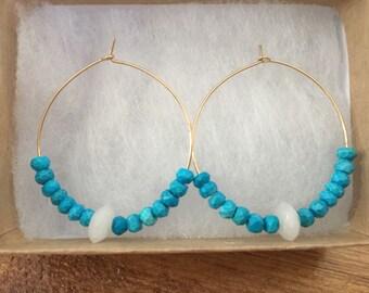 Turquoise and Moonstone Hoop Earrings/Gemstone Hoop Earrings/Gold Hoop Earrings