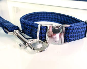 Black & Blue Houndstooth Dog Collar