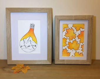 Watercolor painting, warm Autumn leaves, Wooden frame, Thanksgiving GIFT idea, FREE delivery