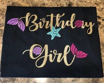 Birthday Girl Mermaid Glitter Tshirt