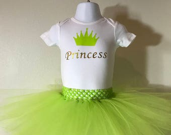 Green and gold Princess Crown personalized Tutu Set