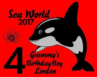 Sea World Inspired Adult Relative of The Birthday Boy Shirt