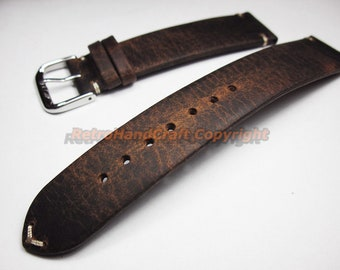 012dcb34ae0 Vintage Handmade 18mm 19mm 20mm 21mm 22mm Coffee Soft Genuine Calf Leather  Watch Strap Band Flat With Pin Buckle Dark Brown Military New