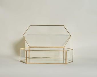 Gold Gem Card Box - Personalized Wedding Card Box - Geometric Glass Card Box - Customized Wedding Card Box - Gold Glass Card Box