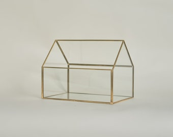Gold Glass House Card Box - Personalized Wedding Card Box - Glass Card Box - Wedding Decorations - Wedding Card Box