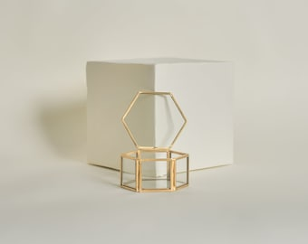 Gold Mini Hexagon Ring Box - Gold Ring Box - Geometric Glass Box - Lidded Hexagon Box - Ring Pillow - Ring Bearer Box