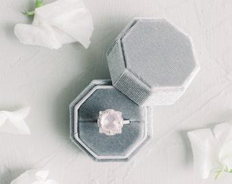 The Beatrice Octagon - Vintage Velvet Ring Box - Engagement Ring Box - Vintage Ring Box - Velvet Ring Box - Grey Ring Box - Wedding Ring Box