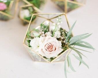Wedding Centerpiece - Geometric Glass Terrarium - Medium Icosahedron - Home Decor - Medium Terrarium - Gold Terrarium - Christmas Gift