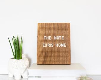 "The Note Walnut - 8"" x 10"" - Wooden Letter Board - Message Board - Felt Board - Bohemian Decor - Modern Decor - Shop local - Shop small"