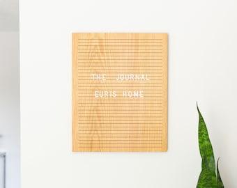"""The Journal Oak 16"""" x 20"""" - Wooden Letter Board - Message Board - Felt Board - Bohemian Decor - Modern Decor - Wood - Letterboard"""