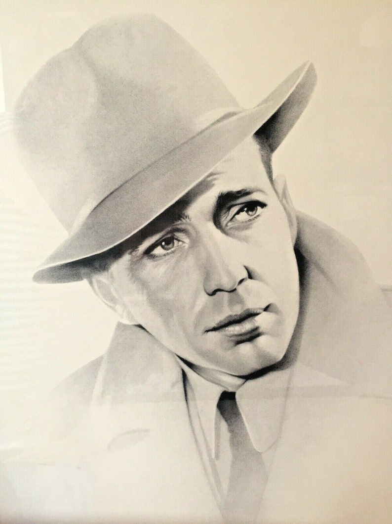 1989 Humphrey Bogart Pencil Signed Charcoal Lithograph by Gary Saderup