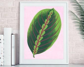 Maranta leaf print, botanical linocut print, leaf print, plant prints, tropical print, tropical leaf print, tropical wall art, leaf art