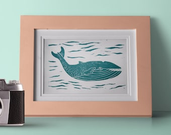 Whale linocut print, whale wall art, whale linocut, whale art, whale print art, nursery print, lino print whale, whale poster, nursery art