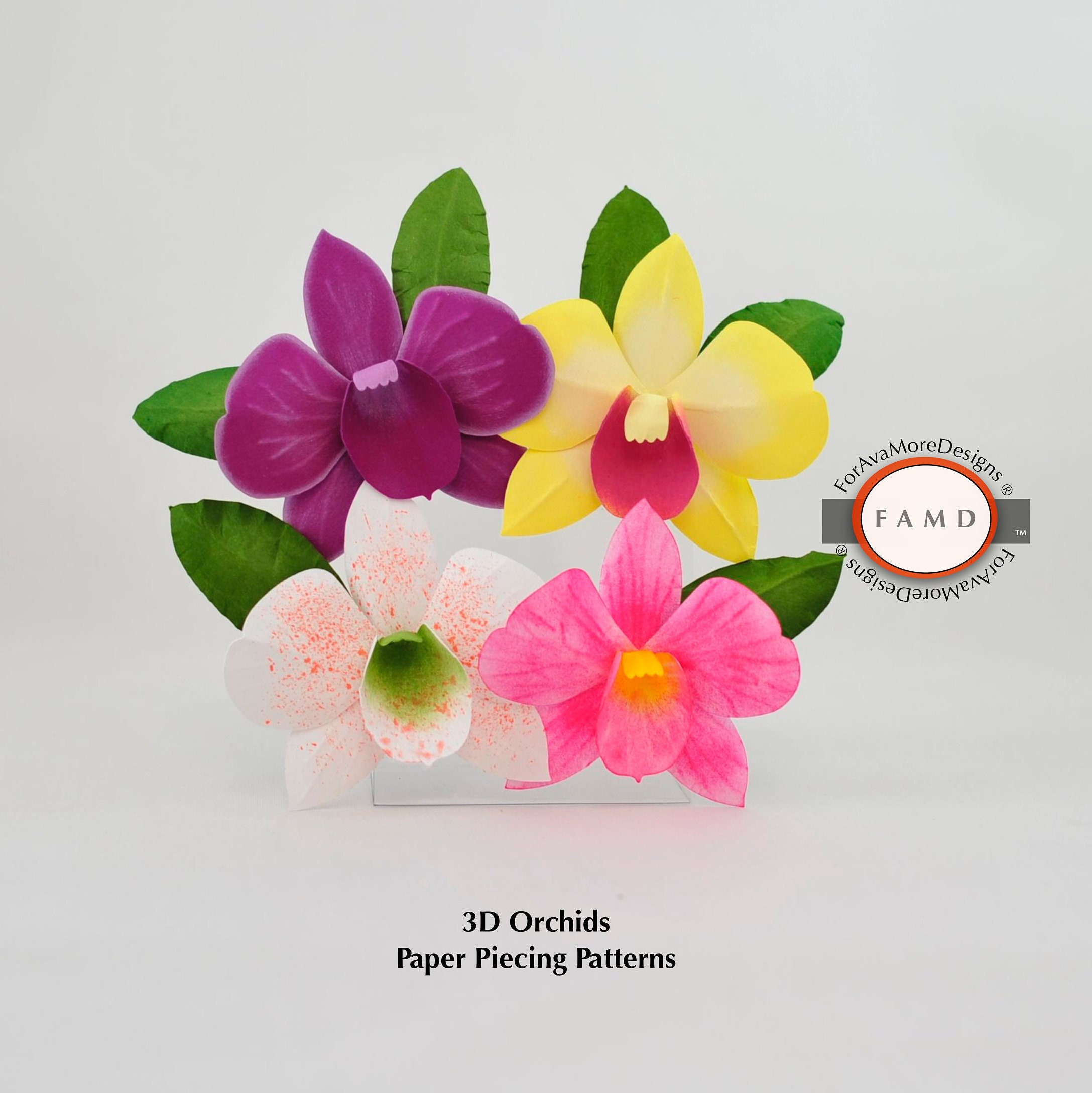 3d Orchid Hawaiian Flower Svg Digital Die Cut Paper Piecing Etsy