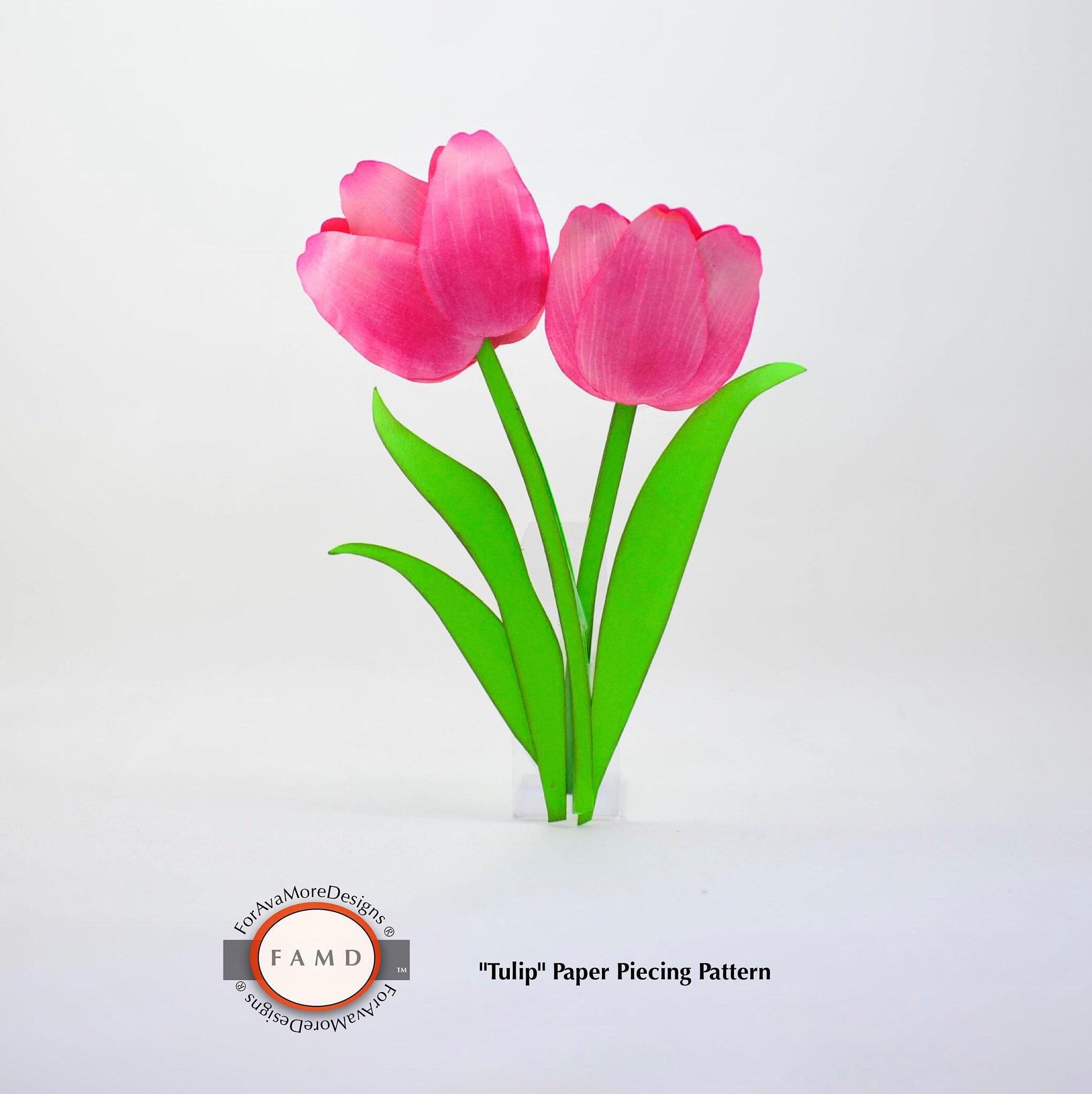 2d Tulip Flower Svg Digital Die Cut Paper Piecing Patterns For Etsy
