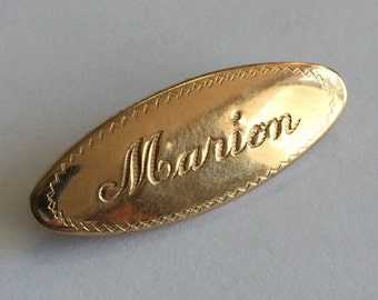 Genuine Vintage 1940/'s Engraved Sweetheart Lapel Pin Brooch MARY 12K Gold Front Mary Brooch Mary Jewelry Gifts for Her