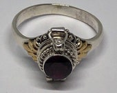 Poison Ring, Garnet Silver Poison Ring Size 8, Garnet Silver Poison Ring Size 9