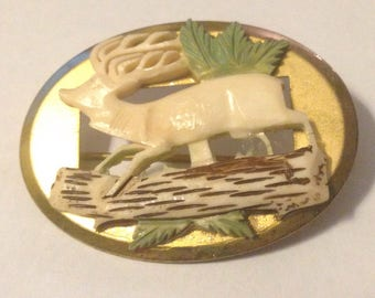 Beautiful Vintage 1940's Hand Carved Horn / Bone Deer Sweetheart Brooch Pins, Deer Brooch, Bone Jewelry