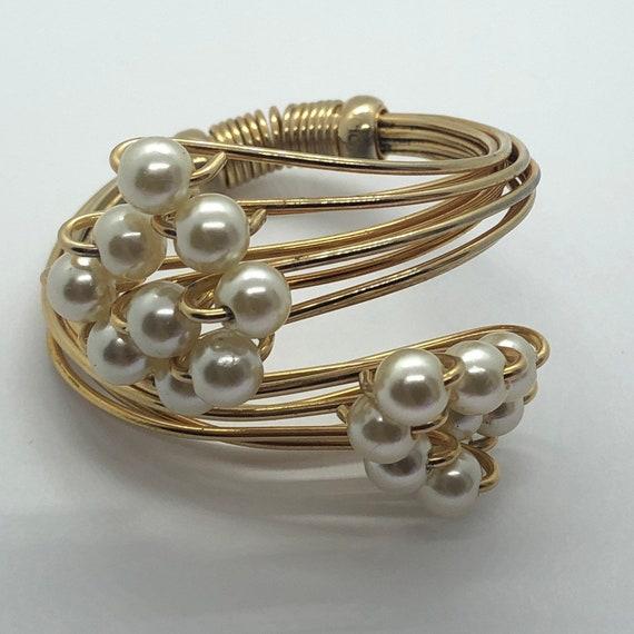 Vintage Faux Pearl Jewelry Suite, Faux Pearl Brac… - image 4